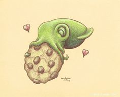 Cookie Squid by MegLyman on DeviantArt Cute Octopus, Octopus Art, Squid Drawing, Truck Paint, Puppies And Kitties, Creature Concept, Cute Drawings, Art Images, Cool Art