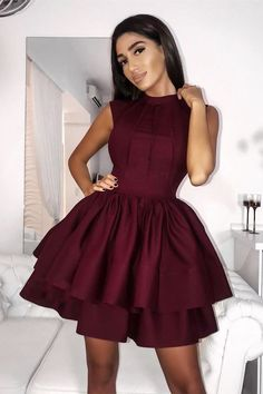 Prom Dress Beautiful, A-Line Jewel Sleeveless Tiered Burgundy Short Satin Homecoming Dress, Discover your dream prom dress. Our collection features affordable prom dresses, chiffon prom gowns, sexy formal gowns and more. Find your 2020 prom dress Burgundy Homecoming Dresses, Cheap Homecoming Dresses, Graduation Dresses, Prom Gowns, Bridal Gowns, Ball Gowns, Wedding Dresses, Simple Dresses, Sexy Dresses