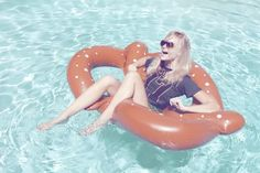 floating in a pool - giant pretzel is optional!