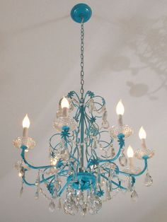 DIY Chandelier Makeovers - Blue Chandelier Redo - Easy Ideas for Old Brass, Crystal and Ugly Gold Chandelier Makeover - Cool Before and After Projects for Chandeliers - Farmhouse, Shabby Chic and Vintage Home Decor on A Budget - Living Room, Bedroom and Dining Room Idea DIY Joy Projects and Crafts http://diyjoy.com/diy-chandelier-makeovers