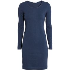 H&M Short jersey dress (53 BRL) ❤ liked on Polyvore featuring dresses, dark blue, cotton jersey dress, blue long sleeve dress, short dresses, blue cotton dress and deep blue dress