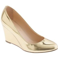 J.Crew Martina Metallic Wedges ($238) found on Polyvore