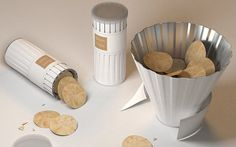 Genius idea. A Pringles-like can that, when you take the paper wrapping off, becomes a serving bowl.