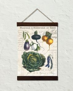 French Vegetable Collage No. 4 Botanical Art Canvas Wall Hanging