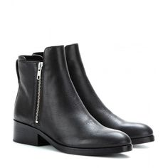3.1 Phillip Lim Alexa Leather Ankle Boots (13.765 UYU) ❤ liked on Polyvore featuring shoes, boots, ankle booties, black, leather bootie, black boots, black leather bootie, leather booties and bootie boots