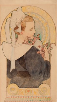 Design for Heather.1901. Watercolour, pencil, paperboard. 56 x 31.1 cm. National Gallery in Prague, Czech Republic. Art by Alphonse Mucha.(1860-1939).