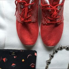 FINAL SALE Nike Roshe One Winter shoes Beautiful bold red shoes from Nike. The material is soft and probably needs a protecting spray. New with box, size 7. Can fit 7.5. No flaws. NO TRADES Nike Shoes Athletic Shoes