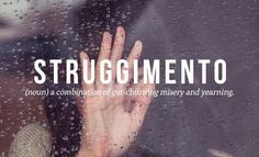 STRUGGIMENTO (noun) a combination of gut-churning misery and yearning
