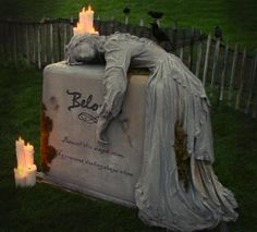 Beloved Tombstone tutorial ... one the the most amazing homemade Halloween gravestone props I've seen.