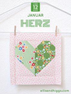 Der Herz Quilt Block ist das erste Muster des 2018er 6 Köpfe 12 Blöcke Quilts. Dieses Jahr wird mein Quilt ganz bunt vor einem Low Volume Hintergrund... Quilting Tutorials, Quilting Designs, Quilting Ideas, Pattern Blocks, Quilt Patterns, Sewing Projects, Projects To Try, Animal Quilts, Mini Quilts