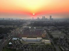 Sunset over Tulsa from The University of Tulsa campus