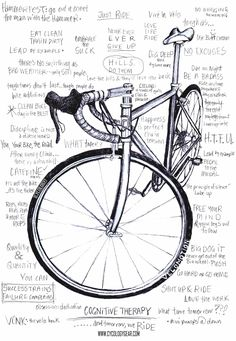 "Cognitive Therapy: A graphic filled with cycling mantras we use before, during and after cycling: ""Discipline is not a dirty word, pedal to the medal, there is no such thing as bad weather ... only soft people, dig deep then dig some more, HTFU and many more. Available on tee shirts at cycologygear.com"