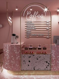 The entirely pink coffee shop in Istanbul is featured in Issue 16 of The Green Gallery Issue Floraissance. Cafe Shop Design, Coffee Shop Interior Design, Interior Design Gallery, Salon Interior Design, Store Design, Coffee Shop Interiors, Store Interiors, Salon Design, Bakery Interior
