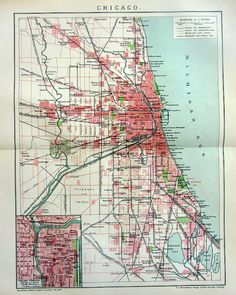 Antique Map Of Chicago Illinois As It Appeared In 1871 Before The ...