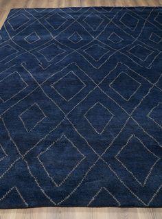 Rugsville Moroccan Beni Ourain Double Diamond Wool Navy Rug 37024 8x10