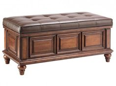 "Save a lot of money at www.DiscountBandit.com. Seriously, check them out; they have the best deals on tons of stuff! Stein World Olivia 12430 42"" Accent Storage Bench with Tufted Bonded Leather Upholstered Cushion in Brown Finish"