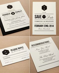Modern invitations with a nice mix of type. #wedding #weddinginvitations