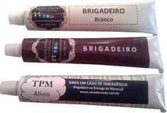 Brigadeiro na bisnaga Chocolates Gourmet, Sweet Life, Diy Gifts, Frozen, Packaging, Kit, Cookie, Wallpapers, Humor