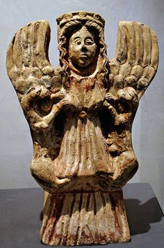Mistress of Animals; mother goddess relief from Etruscan culture - antefix ceramic, found Temple B in Civitella - at the Museum of Civitella