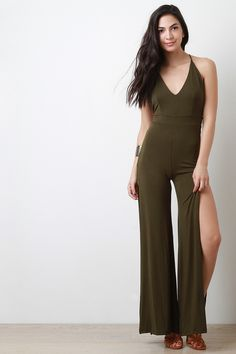 Free SH & Easy Returns! Shop Wide Leg Open Back Jumpsuit. This jumpsuit features wide cut legs with slit constructed front, high waist seam, v neckline to spaghetti straps, and open back with cross straps.
