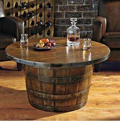 Handmade Round Vintage Oak Whiskey Barrel Table