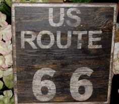 Distressed vintage and historic inspired Route 66 sign. $18.00, via Etsy.