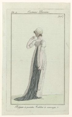 Rear view of a tablier robe, an 9 Costume parisien 1800s Fashion, Victorian Fashion, Corsage, Christian Names, Regency Era, Empire Style, Fashion Plates, French Fashion, Hand Coloring