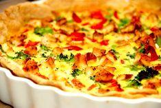 Opskrift på tærte med kylling, der er nem at lave. Tærten bages også med broccoli, bacon og peberfrugt, og den er god til frokost dagen efter.