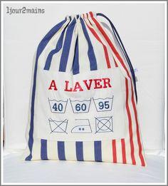 sac linge rayures