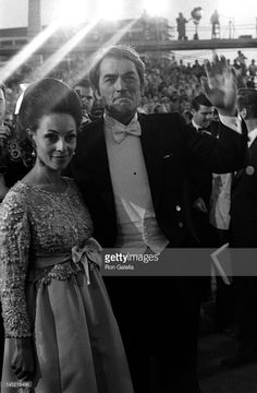 Gregory Peck and wife Veronique Peck attend 40th Annual Academy Awards on April 10, 1968