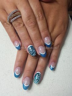 Cuccio blue tips with inlaid shell and freehand nail art