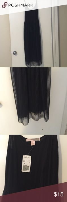 Black calf length or midi dress. Black cotton spaghetti strap dress with super cute accordion sheer pleat bottom. Forever 21 new with tags. Retails for 24.90. Forever 21 Other