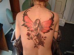 Fairy Tattoo Ideas For Women On Back, fairies tattoo designs, fairy tail tattoo Red Tattoos, Back Tattoos, Cute Tattoos, Body Art Tattoos, Small Tattoos, Stomach Tattoos, Beautiful Tattoos, Angel Tattoo For Women, Back Tattoo Women