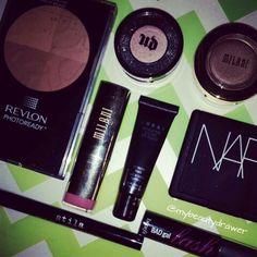 Makeup of the day.  #makeup #motd #fotd #makeupmess #makeupporn #revlon #bronzer #urbandecay #sin #eyeshadow #milani #lipstick #lorac #nars #blush #orgasm #stila #stayallday #liquidliner #benefit #badgallash #lashes #mascara #mini #samples