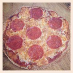 A healthier pizza! Recipe: Turkey pepperoni, tomato sauce, light mozzarella chz and a whole wheat tortilla. Bake at 350• for 10-15min Pretty satisfying if u have a pizza craving!