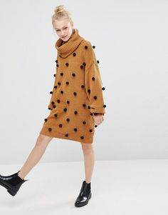 Monki | Monki Pom Pom Roll Neck Oversized Knitted Sweater Dress
