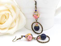 Pink Earrings, Navy Earrings, Hoop Earrings, Feminine Earrings, Rose Earrings, Swarovski Earrings, Shabby Chic Earrings, Lightweight Earring