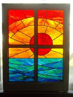 """stained glass panel """"caribbean sunset"""""""