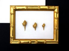 Hollywood Regency Faux Bamboo Gold Frame Canvas & Gold Dipped Shells  Chinoiserie Tropical Glam Artwork
