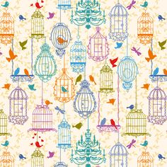 Birds and cages vintage pattern warm colors - yaskii - Spoonflower
