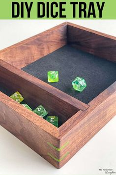No more losing your dice off the table! This DIY dice tray has a square rolling area, plus a section for storing all your dice! It's perfect for Dungeons and Dragons (DnD) and other tabletop games. Make one for the gamer in your family with the woodworking plans from The Handyman's Daughter! Diy Furniture Projects, Diy Home Decor Projects, Cool Diy Projects, Decor Crafts, Project Ideas, Craft Ideas, Beginner Woodworking Projects, Diy Woodworking