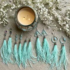 Feather earrings, mint blue feather earrings, chandelier beaded feather earrings, bohemian feather earrings