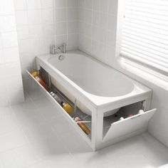 DIY Bathroom Storage Ideas, Hidden storage space around the bathtub Small Bathroom Storage, Tiny House Bathroom, Master Bathroom, Bathtub Storage, Storage Tubs, Bathroom Shelves, Hidden Storage, Small Storage, Storage Spaces