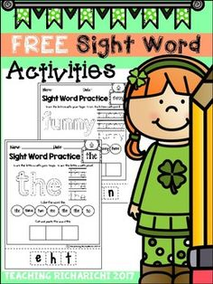 Inside you will find 2 FREE Sight Word Activities pages.I would appreciate your feedback.If you have any questions, feel free to contact me at :teachingricharichi@gmail.com