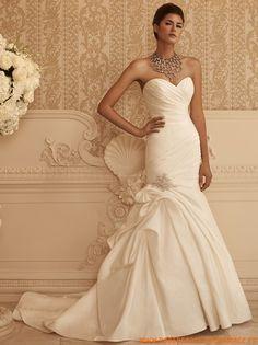 Belle robe de mariage bustier sirène 2013 drapé cristaux s...