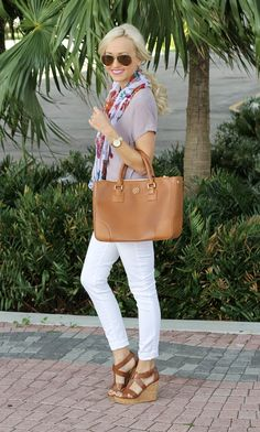 White jeans,  mauve top, floral muted scarf and carmel bag & wedges!