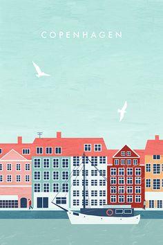 Copenhagen - Travel Poster by Katinka Reinke. Kopenhagen -Dein Lieblingsort als Tasche, Print, Duschvorhang, Tasse und vieles mehr! #Vintagetravelposters