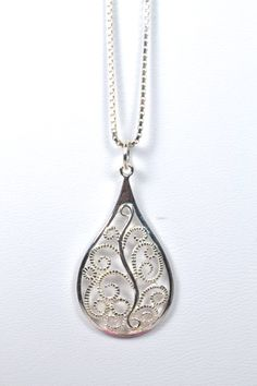 Sterling Silver Fancy Filigree Necklace by RomanceinSilverAH,