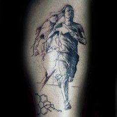 40 Running Tattoos For Men - Ink Design Ideas In Motion Marathon Tattoo, Tattoo Designs For Women, Tattoos For Women Small, Tattoos For Guys, Leg Tattoos, Sleeve Tattoos, Cool Tattoos, Chemical Tattoo, Runner Tattoo