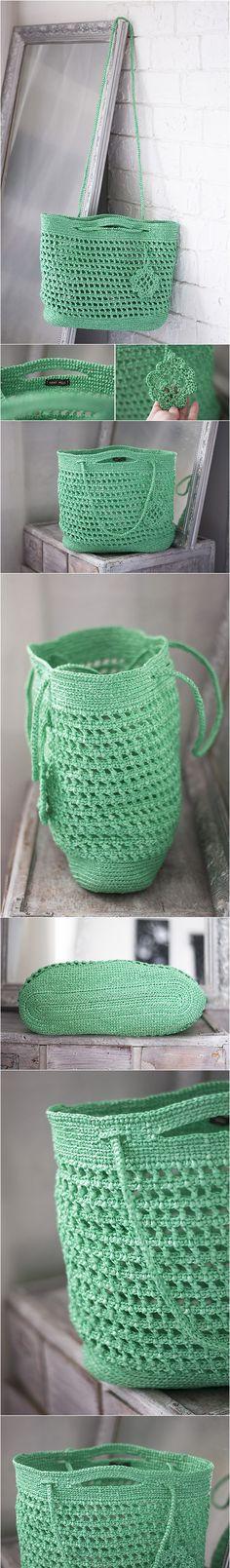 Green Crochet Bag, Large Eco Friendly from Upcycled Bags, Plastic Yarn Handbag, Big Lightweight Grass OOAK, Tote Summer, Spring Beach Plarn Bag, St Patricks Day bag, irish bag, st paddy's day bag, patrick bag, green bag, eco bag